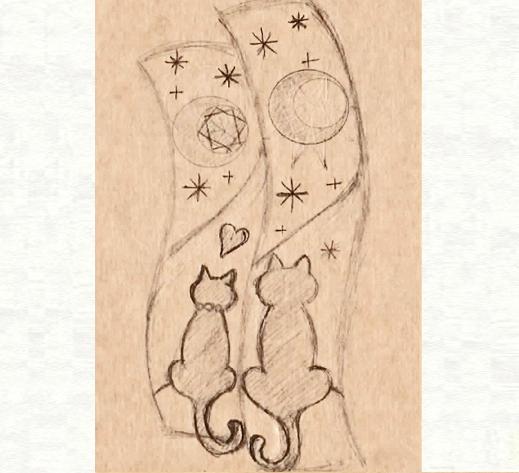 2本の結婚指輪に夜空の月が浮かぶ ネコのカップルのリングのデザイン画2・千葉・柏 ヨー&マーレ