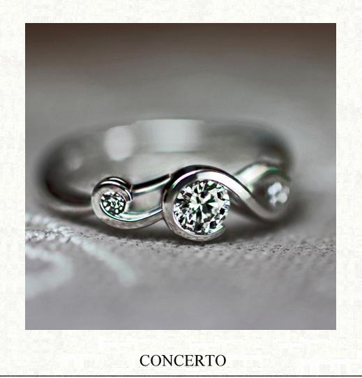 ト音記号をデザインしたプラチナの婚約指輪オーダーメイド作品