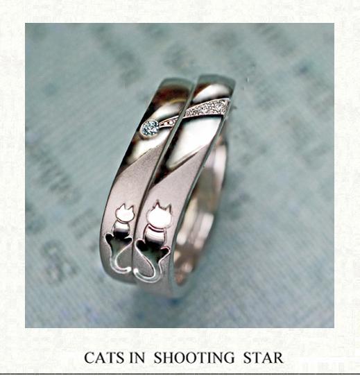ブルーダイヤの流れ星とネコたちの結婚指輪|千葉・柏 ヨー&マーレ