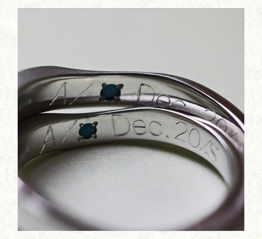 ハート&メビウスの模様を入れた結婚指輪 リングの内側刻印|千葉・柏 ヨー&マーレ