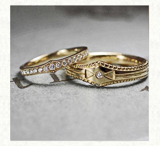 アンティークゴールドの結婚指輪 ヴィンテージ