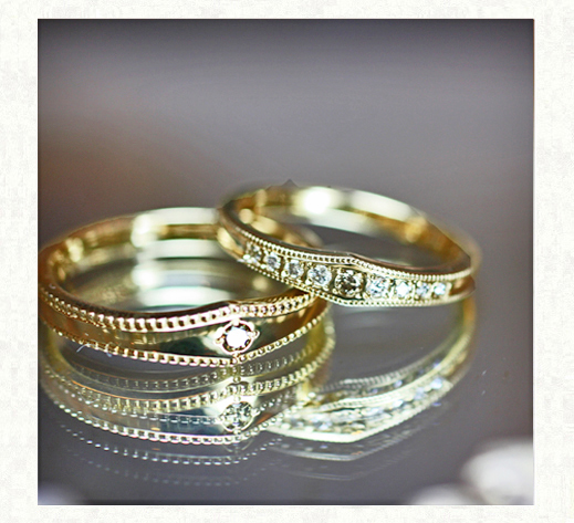 ブラウンダイヤをアレンジした結婚指輪 ヴィンテージ 1