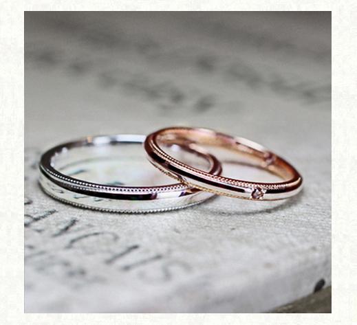 ピンクゴールドとプラチナを組み合わせたコンビカラーの結婚指輪コレクション