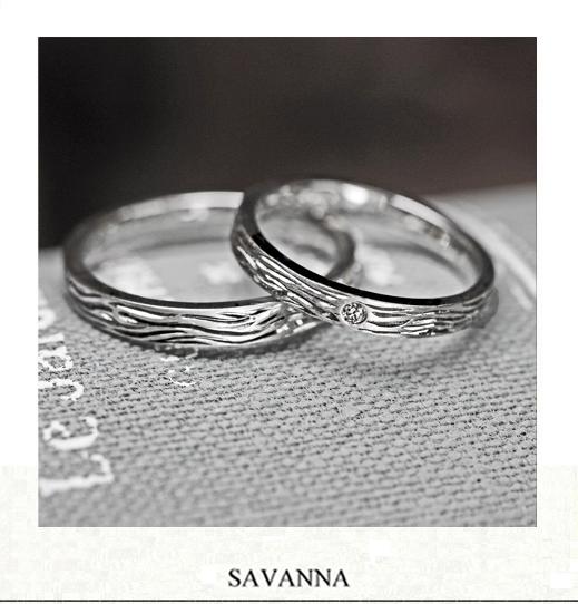 結婚指輪に【トラの模様】をデザインした プラチナのオーダー作品