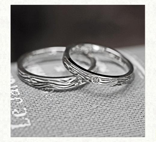 トラの縞模様をデザインした Pt950の結婚指輪1 千葉・柏 ヨー&マーレ