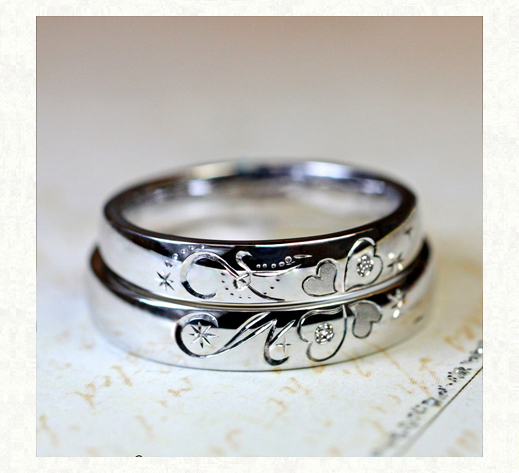 クローバーとイニシャルを2本重ねてつくる結婚指輪 千葉・柏 ヨーアンドマーレ