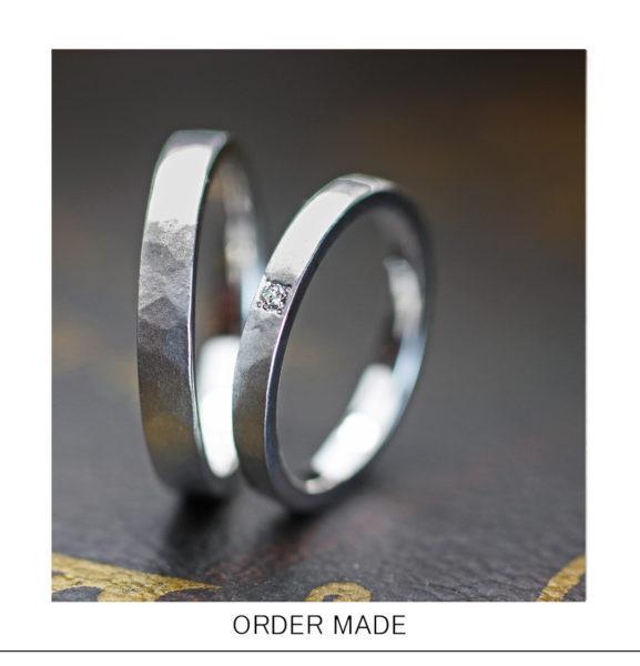 【ツチメ風】にデザインした凍った氷の様な結婚指輪オーダー作品