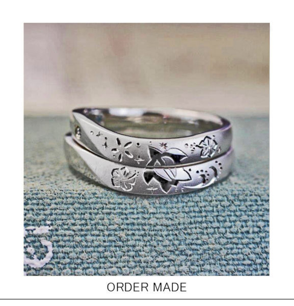 【ハワイアン】結婚指輪にウミガメの模様を入れたオーダーメイド作品