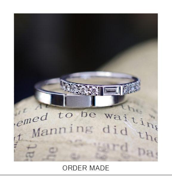 【四角い・長方形のダイヤ】を使ったエタニティデザインの結婚指輪