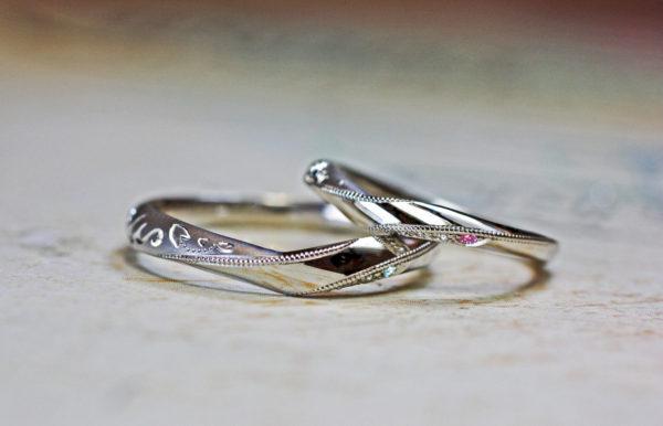 T様が千葉 柏本店でつくったオーダーメイド・Vライン結婚指輪