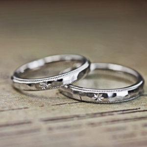 アイスデザインに【星の模様】を入れた結婚指輪オーダーメイド作品