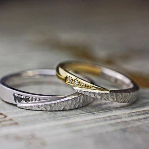 スネークデザインを個性的【2色コンビ】にした結婚指輪オーダー作品