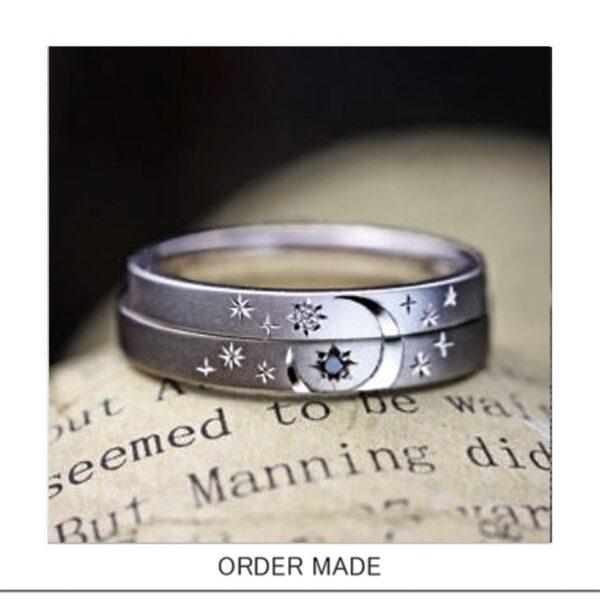 結婚指輪を重ねて月と星の模様を入れたオーダーメイド作品
