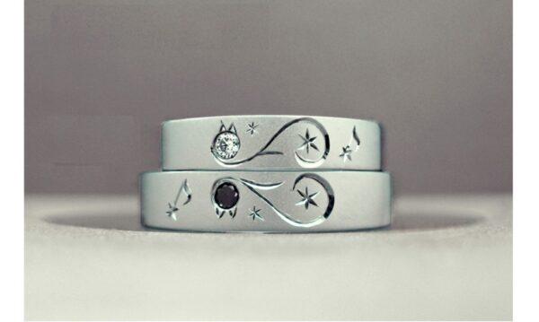 模様の様なネコの結婚指輪デザイン