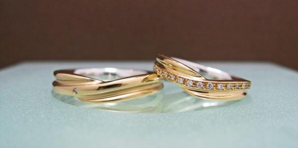 S様が千葉・ 柏でオーダーメイドしたゴールドの結婚指輪・オーロラ