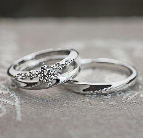 繊細なオルゴールの様な婚約指輪と結婚指輪のオーダーメイドセットリング