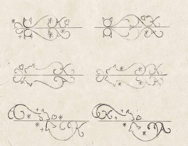 結婚指輪に入れるネコデザインのラフ画