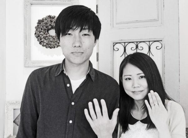 ピンクゴールドとグレーゴールドのオーダーメイドペア結婚指輪  U様・千葉 柏