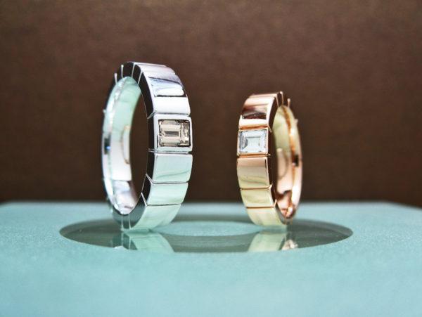 ピンクゴールドとホワイトゴールドと四角いダイヤモンドの結婚指輪