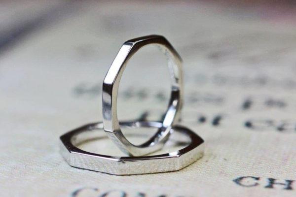 八角形の結婚指輪をプラチナでオーダーメイドしたオリジナルリング