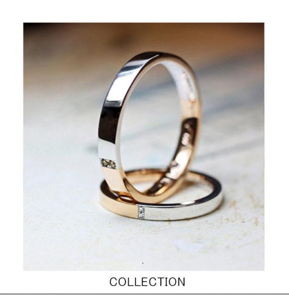 プラチナとピンクゴールドがハーフハーフの結婚指輪