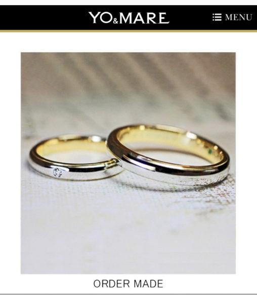 イエローゴールドとプラチナのコンビの結婚指輪