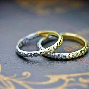 ゴールドとプラチナのハーフでつないだクロコ調の結婚指輪オーダー