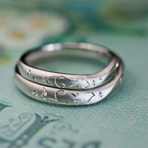 【ネコの写し模様】でハートを作った結婚指輪オーダーメイド作品