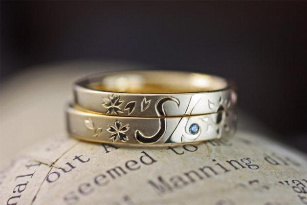 ゴールドの結婚指輪で作った太陽とイニシャルマークのオーダーリングのデザイン画 3