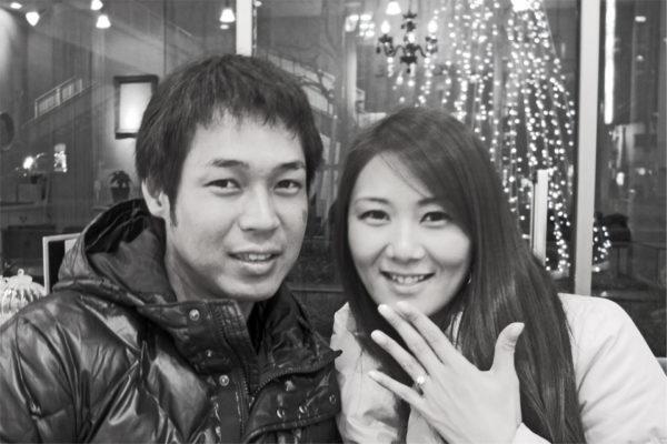 クリスマスイブにダイヤモンド煌く結婚指輪を薬指に K様 千葉・柏