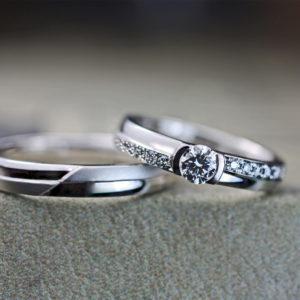 【2列のエタニティ】にデザインした婚約指輪兼用のオーダー結婚指輪