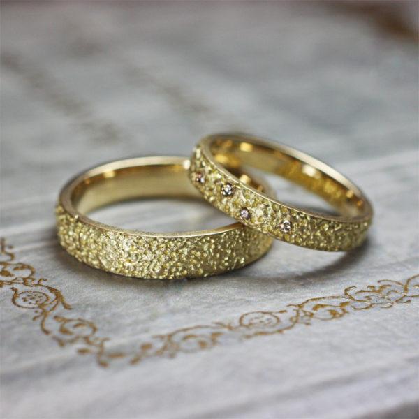 レモンシュガー・キラキラ光るレモンシュガーの 結婚指輪ゴールドコレクション