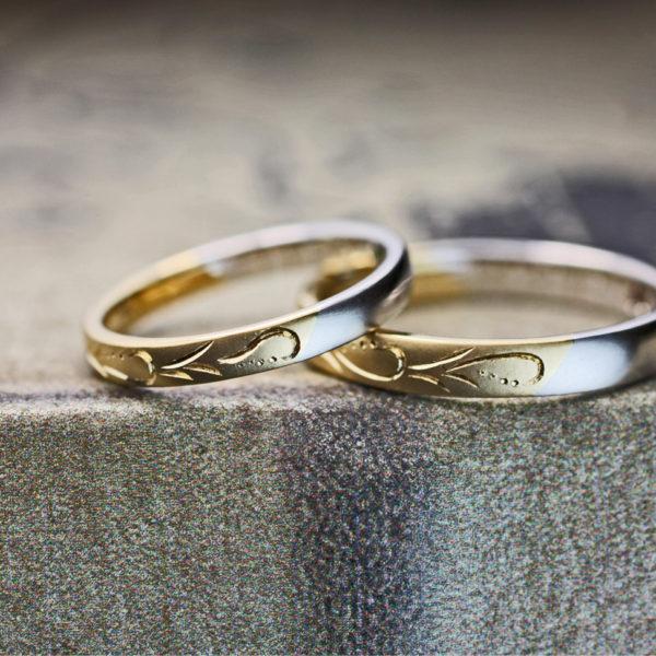 ゴールドの模様とプラチナがハーフで繋がったオーダーメイド結婚指輪