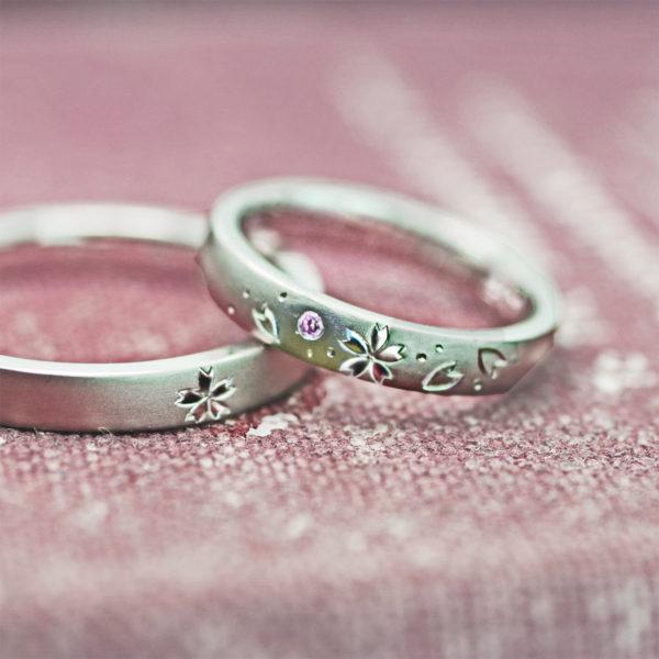 4月の桜ピンクを結婚指輪にオリジナルデザインしたオーダーリング