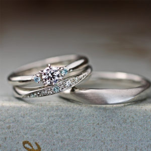 3つのブルーダイヤが美しい結婚指輪と婚約指輪のセットリング作品