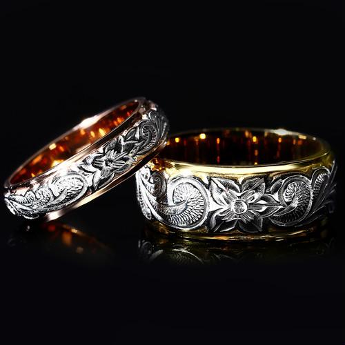 プラチナとゴールドコンビのハワイアンジュエリーの結婚指輪