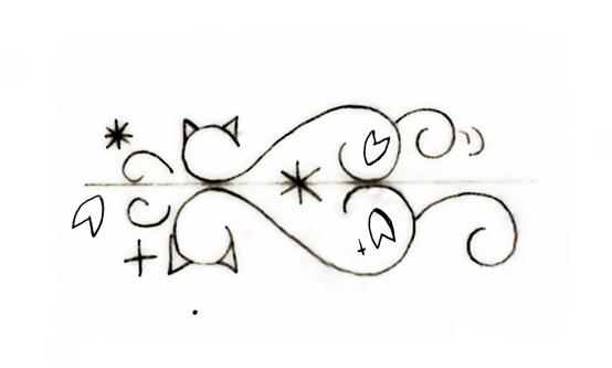 結婚指輪にいれるネコとサクラののデザイン画 2