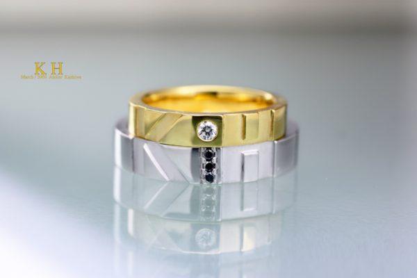 結婚指輪を2本重ねてイニシャルK&Hをオーダーメイド