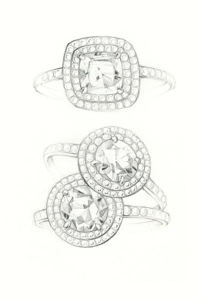 婚約指輪をオーダーメイドするデザイン画