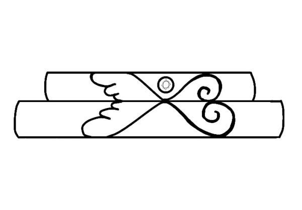 天使の羽をピンク&イエローゴールドで重ねた結婚指輪のデザイン画 1