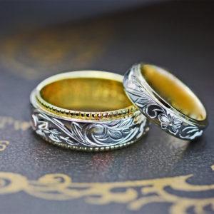 【ハワイアン模様】を8mmの結婚指輪に入れたコンビのオーダー作品