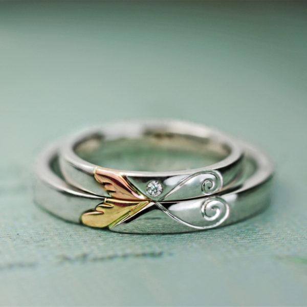 天使の羽をピンク&イエローゴールドで重ねた結婚指輪オーダーメイド