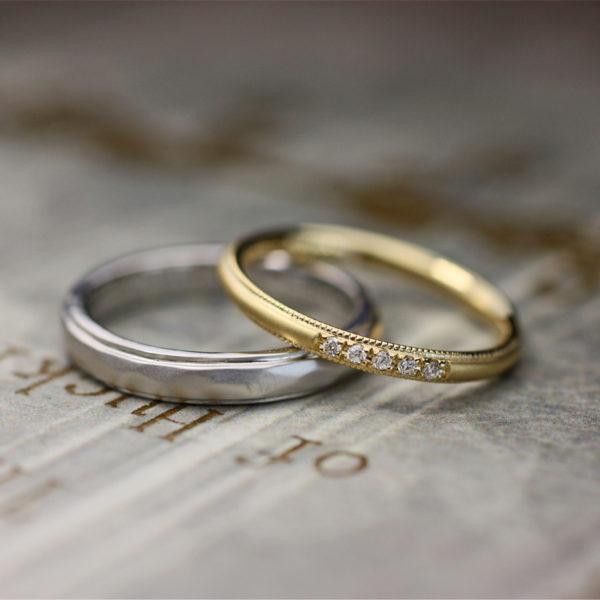 ゴールドとプラチナの結婚指輪をオシャレ感いっぱいにオーダーメイド