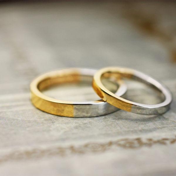 純プラチナ・Pt1000と純金・K24を合わせたオーダー結婚指輪