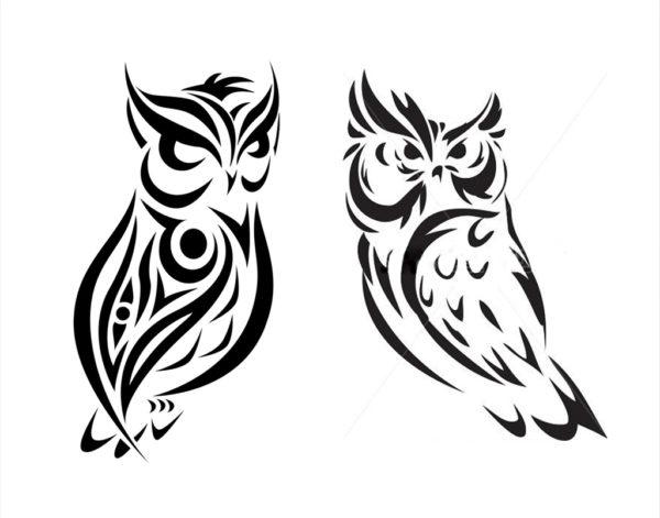 フクロウのトライバル柄のデザイン画