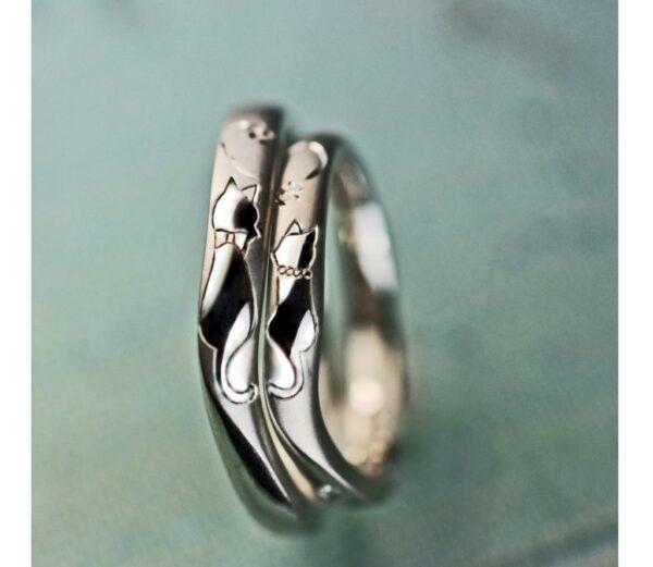 【紳士と淑女のねこの模様】がハートをつくる結婚指輪オーダー作品
