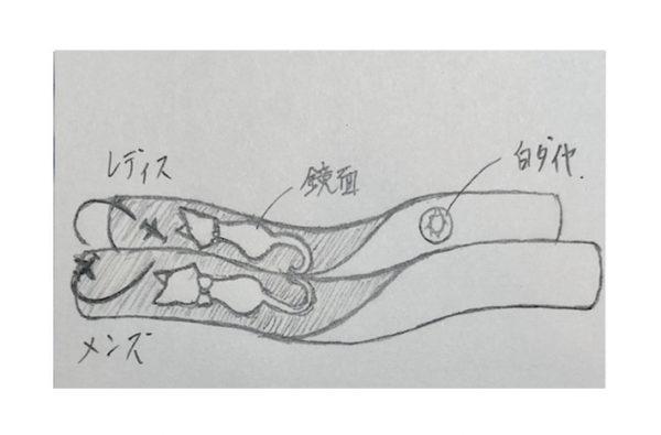 ネコの柄を入れた結婚指輪のデザインラフ画
