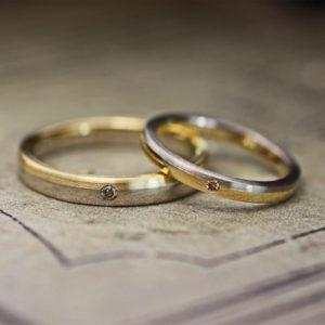 イエロー&グレーゴールドを2:1で組み合わせたオーダー結婚指輪