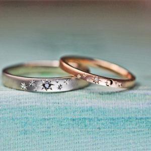 星空をピンク&グレーゴールドに表現した結婚指輪オーダーメイド作品