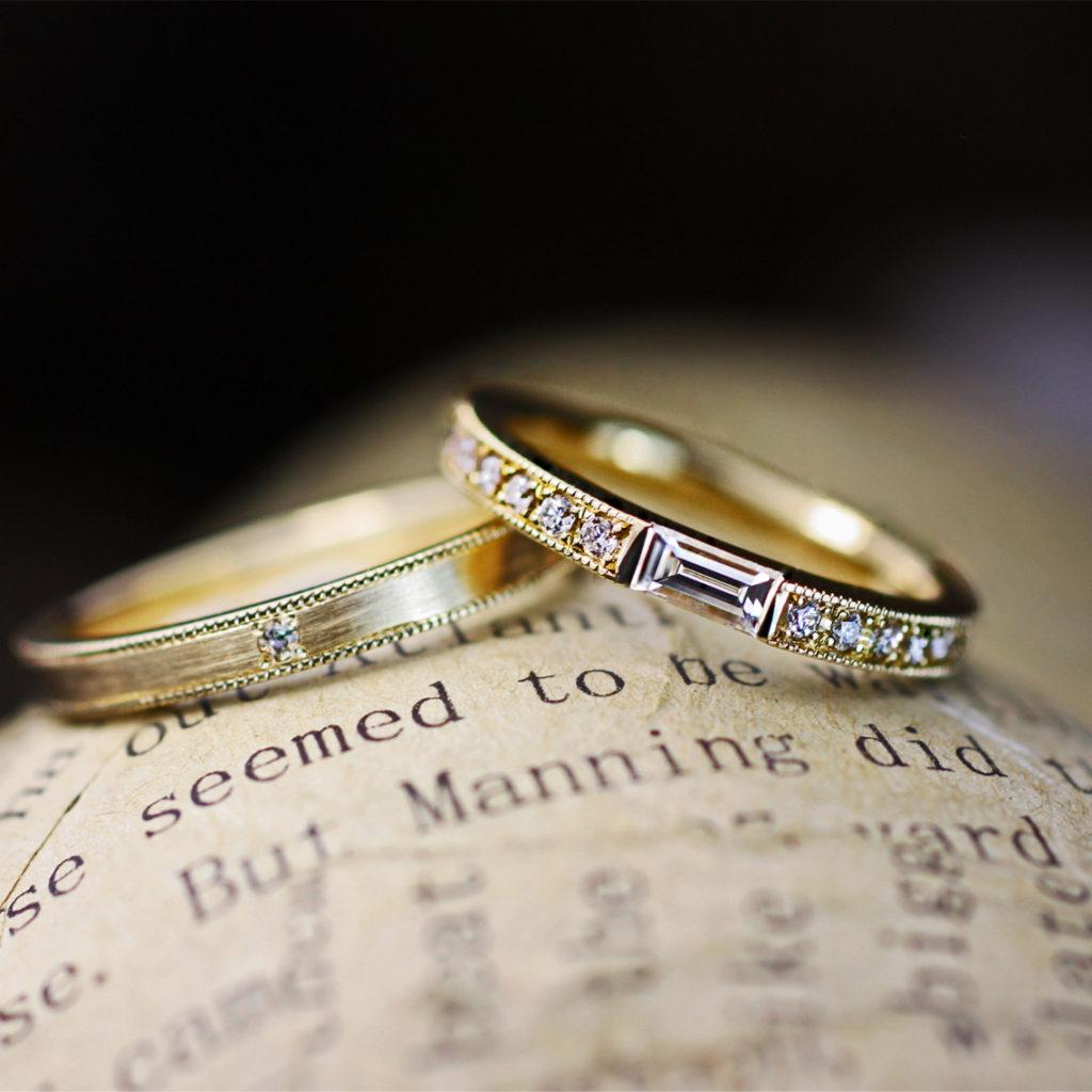 長方形ダイヤを細いゴールドエタニティにセットしたオーダー結婚指輪